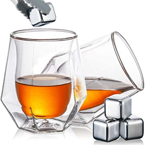 YouYah Whiskey Glasses Set of 2 Double Walled Crystal Whisky Glasses with 4 Stainless Steel product image