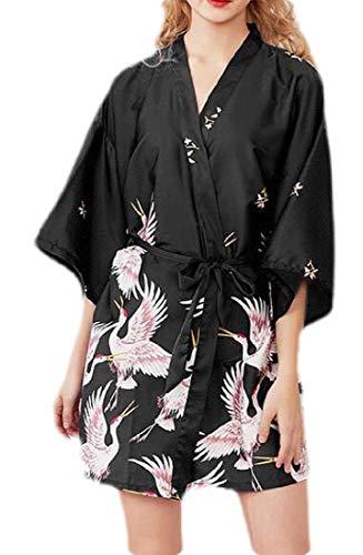 H&E Kimono - Bata de baño para Mujer (satén) Negro Negro (M