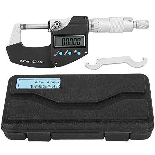 Micrómetro Digital Electrónico Portátil de Pantalla Grande Micrómetro Exterior Digital Herramienta de Medición Métrica Imperial 0.001 Mm Precisión 0-25 Mm