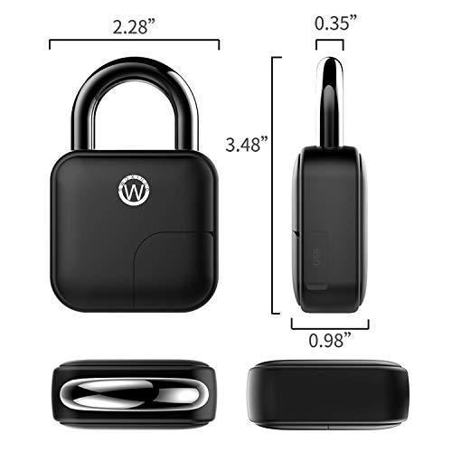 Smart Fingerprint Padlock, Fingerprint Door Padlock, Smart Padlock with Self-learning Function,Heavy Duty Biometric Padlock Ideal for Indoor-outdoor Applications