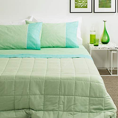 Bassetti Lenzuola Matrimoniale (Completo Letto 100% Cotone, lenzulo sotto + sopra + 2 federe DELF) (Verde)