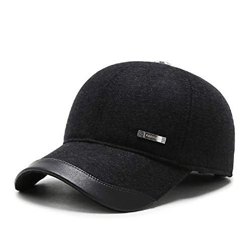 Sombrero de Gorra de béisbol de Lana de Tweed de Lana cálida de Invierno de los Hombres con Doblez Orejeras Calentador (P- Negro)