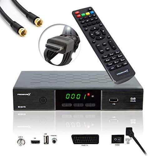 PremiumX HD 520 FTA Digital SAT Receiver DVB-S2 FullHD HDTV Satelliten Empfänger HDMI SCART USB Mediaplayer Antennenkabel, Vorprogrammiert