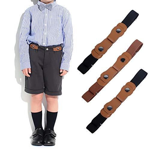 WELROG Keine Schnalle elastische Gürtel für Kinder - verstellbare unsichtbare Stretch-Gürtel für Baby/Kleinkind, Jungen und Mädchen (Marineblau/Braun/Schwarz)