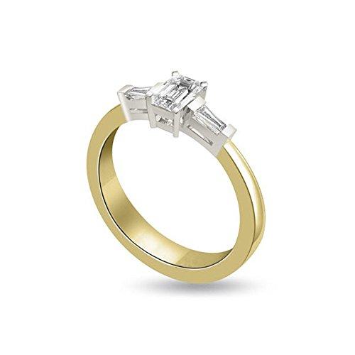 0.40ct F/VS1 Diamante Trilogy Anello da Donna con Smeraldo & Baguette diamanti in 18kt Oro Bianco e Giallo
