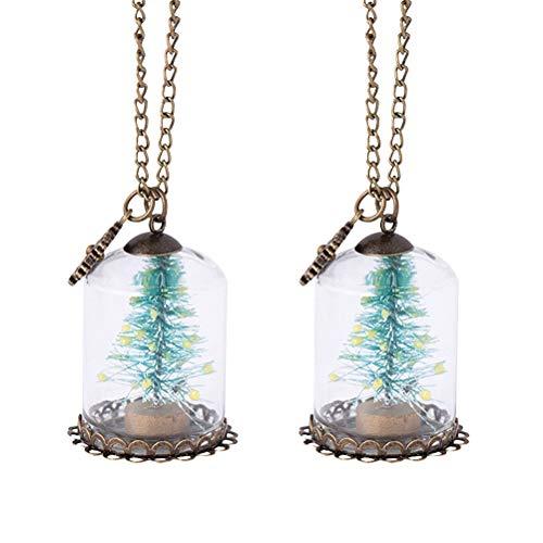 Abaodam 2 piezas luminoso árbol de Navidad colgante de cristal cubierta collar...