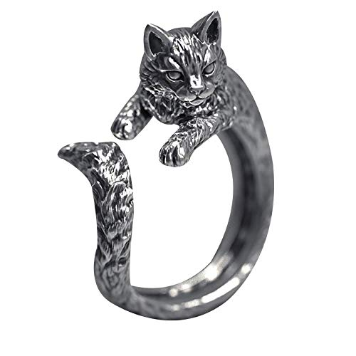 Vintage Thai Silver Cat Ring Pet Live Mouth Ring Adjustable Ring Female Valentine's Day Anniversary Festival Gift