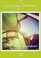 Camping Sommer - Zelten Grillen Lagerfeuer (Wandkalender 2022 DIN A2 hoch): Glueckliche Abenteuer. (Planer, 14 Seiten )