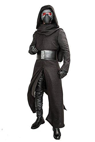 Kylo Kostüm Aktualisiert Version Deluxe Erwachsenes Coole Fancy Hooded Robe Halloween Kleidung mit Handschuhe Gürtel