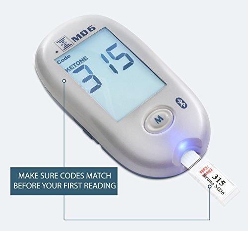Bruno MD6 Blood Ketone & Glucose Monitoring System | Track Your Ketones & Ketogenic Diet Progress | Ketosis Test Kit with Lancing Device, 10 Keto Strips + 50 Lancets 3