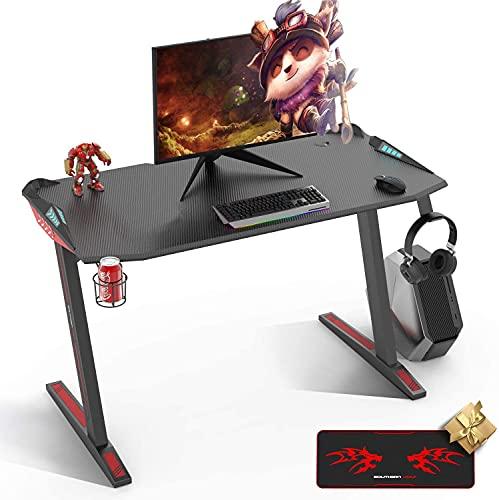 SOUTHERN WOLF mesa gaming con LED, escritorio gaming de 47'' con almohadilla de ratón de cubierta completa, estación de trabajo para juegos en casa con soporte para tazas y gancho para auriculares