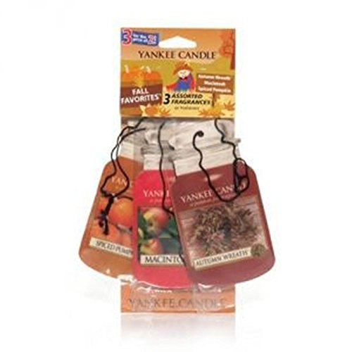 Yankee Candle FALL FAVORITES Paper Car Jar Air Fresheners ; Autumn Wreath, Macintosh, and Spiced Pumpkin. - Set of THREE Car Jars