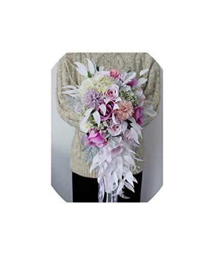Kion Pasue bridal bouquets Wasserfall-Hochzeit Blumenstrauß künstliche Lilien-Braut Brautstrauß Braut Wedding Bouquet, Style 1