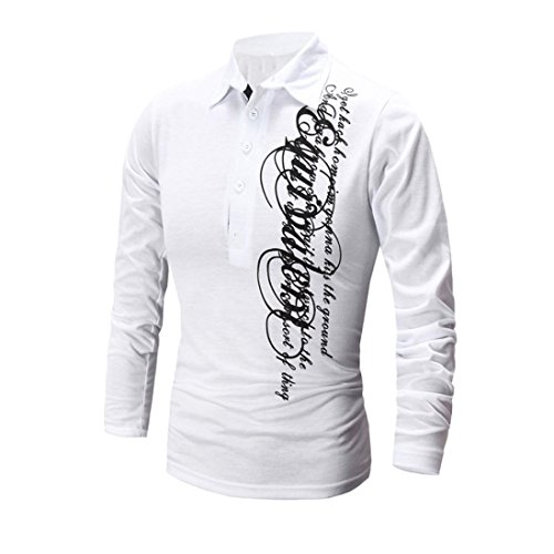 ZYooh Premium High Collar Men's Long Sleeves,Fashion Button Stand-up Tight Casual Letter Printing Dress Shirt Blouse (L, White)