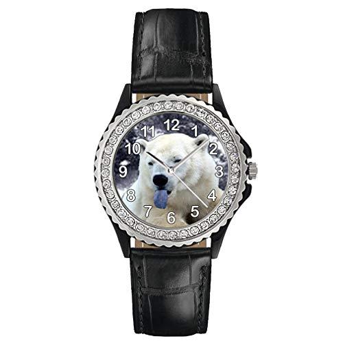 Timest - Oso Polar - Reloj del Cuero Negro para Mujer con piedrecillas Analógico Cuarzo CSG88b