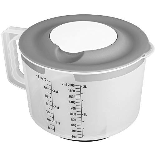 TW24 Messbecher Pastell mit 2tlg. Spritzschutzdeckel 2L mit Farbwahl Mixbecher Rührschüssel BPA frei Teigschüssel Messskala Schüssel (Grau)