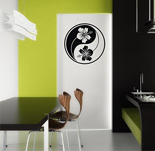 Sticker mural Yin Yang Yin Hibiscus Hibiscus Fleur caractères dans 33 couleurs mat ou brillant autocollants Mandala Yoga Sticker mural 60 cm - Gris clair brillant