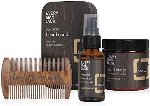 Every Man Jack Sandalwood Beard Care Set 1 ounce beard oil 4 ounce beard butter beard comb product image