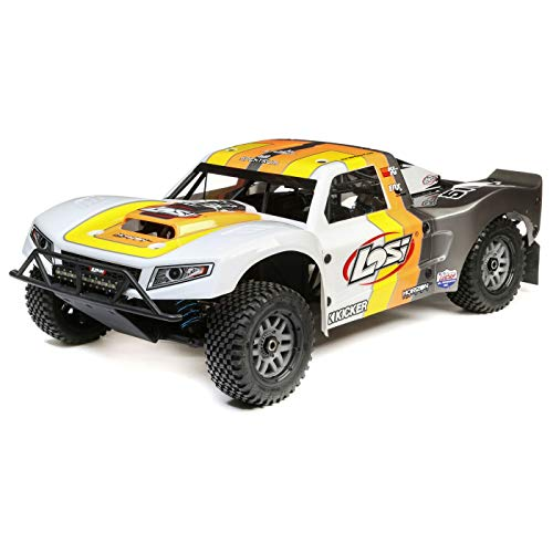 Losi 5Ive-T 2.0 1/5 Scale 4WD RC Short Course Truck Gas Powered BND with 6-CH Dsmr Telemetry Rx (Transmitter, Rx Battery, Charger, & Fuel Not Included), LOS05014T2 (Grey/Orange/White)
