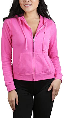 ToBeInStyle Women's L.S. Full Zip-Up Kangaroo Pocket Hoodie - Candy Pink - Large