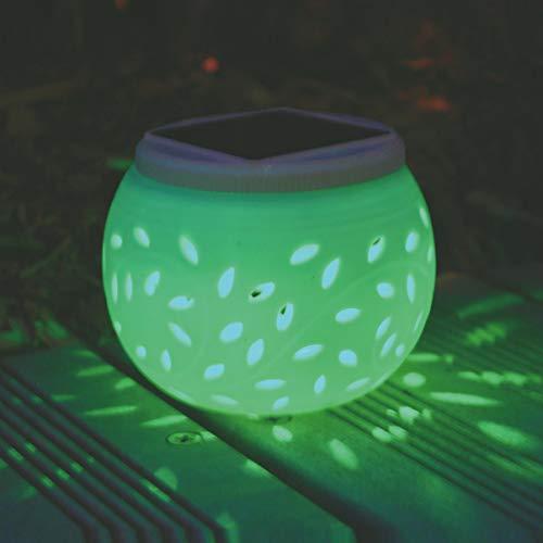LEDMOMO - Lámparas de mesa solares de cerámica LED para jardín, impermeables, lámparas de noche solares de colores, para patio fiesta, patio o decoración interior exterior