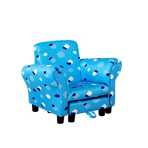 HOMCOM Kids Children Armchair Mini Sofa Wood Frame w/ Footrest Anti-Slip Legs High Back Arms Bedroom Playroom Furniture Cute Cloud Star Blue