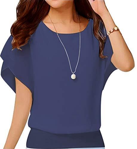 VIISHOW Women's Loose Casual Short Sleeve Chiffon Top T-Shirt Blouse Navy Blue Large