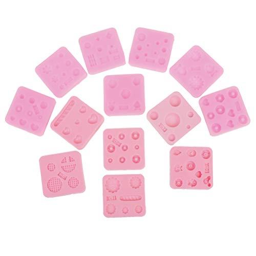RUIYELE Moldes de chocolate, 12 piezas de estilos de 4 x 4 cm, moldes de chocolate de postre de silicona, moldes de dulces, moldes para hacer manualidades