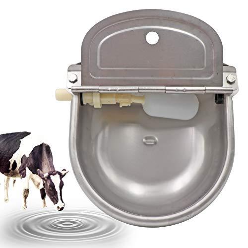PROBEEALLYU bovini ciotola d\'acqua automatico, abbeveratoio Ciotole per acqua da mucca in acciaio inossidabile, alimentatore per pollame con valvola per galleggiante regolabile e foro di scarico