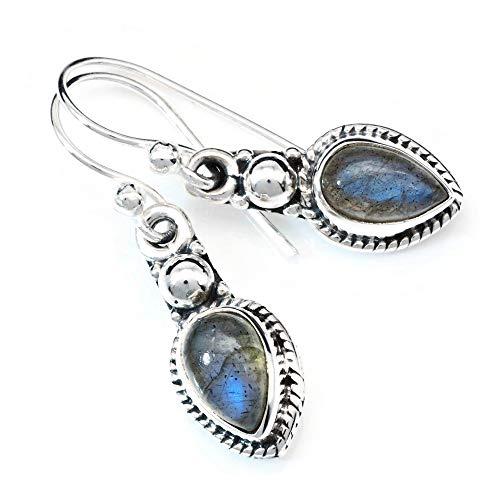 Labradorit Ohrringe 925 Silber Sterlingsilber Ohrhänger grün blau (MOH 144-05)