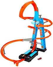 Hot Wheels Wolkenkrabber Crash van 61 cm hoog met gemotoriseerde booster en oranje baandelen met loops
