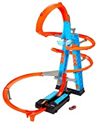 With the Hot Wheels Sky Crash Tower, kids can race multiple cars at the same time and add more and more vehicles for sky-high crashes The track set is designed for the ultimate crashing and racing action with a tower for storing 20+ cars that rises 3...