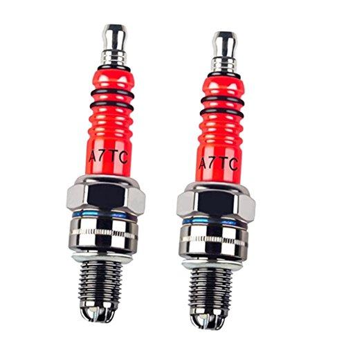 MagiDeal 2 Stücke A7TC Zündkerze Hochleistungs-3-Elektroden-Zündkerze Für 50ccm 70cc 90cc 110cc 125cc ATV
