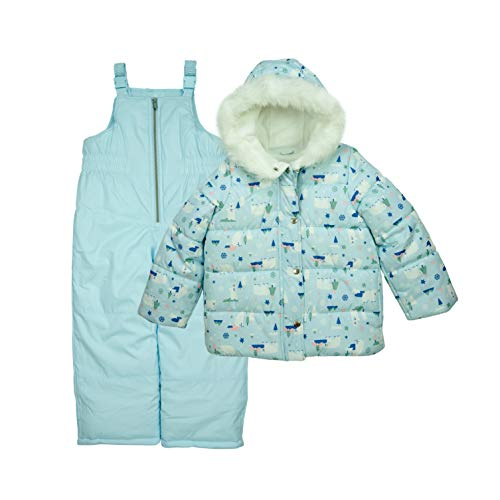 Carter's Girls' Heavyweight 2-Piece Skisuit Snowsuit, Ice Blue/Polar Bears, 6X