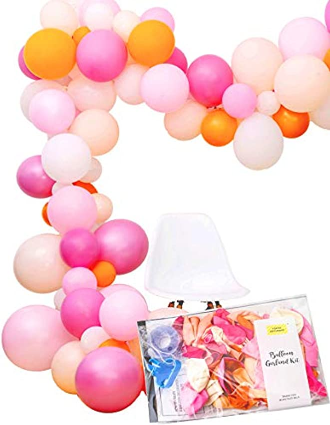 Pastel Pink and Orange 16 feet Balloon Party Garland Arch Decoration Kit, 120 Balloons and Tools, Girl Half Birthday, Baby Shower, Party Photobooth by TOKYO SATURDAY (Candy Pink)