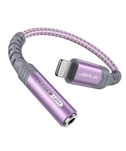 JSAUX Adaptador de Lightning a Jack 3,5mm [MFI] iPhone Adaptador Jack Auriculares Divisor para iPhone 12/12Pro/11/11 Pro/X MAX/XR/XS/X/ 8 Plus/ 8/7/ 6/ 5C/ 5S a Altavoces, Audio de Coche-Púrpura