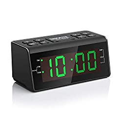 "Jingsense Digital Alarm Clock Radio with AM/FM Radio, 1.2"" Big Digits Display, Sleep Timer, Dimmer and Battery Backup, Bedside Alarm Clocks with Easy Snooze for Bedrooms, Table, Desk – Outlet Powered"