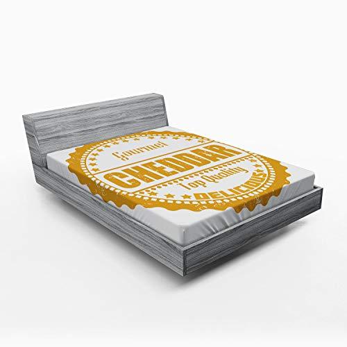 ABAKUHAUS Queso Sábana Elastizada, Sello de Goma Gourmet Cheddar, Suave Tela Decorativa Estampada Elástico en el Borde, 120 x 190 cm, Oscuro Amarillo y Negro