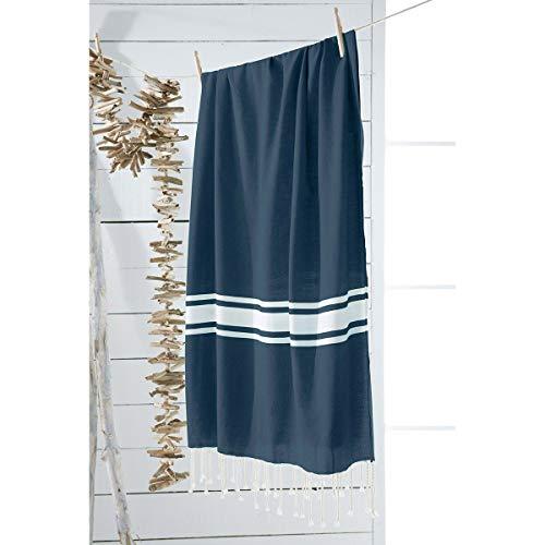 marque Today Fouta 100x190 cm Bornéo Lignes Bleu Coton