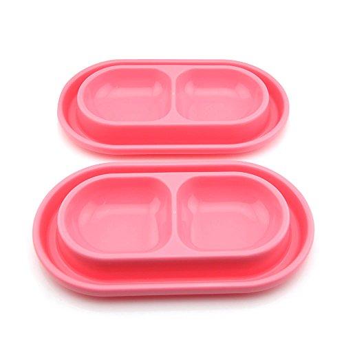 Futter-/Trink-Schüssel Owfeel (TM) 2 Stück für Hund und Katze. Ameisen- und Käfer-abstoßend. Pinkfarben.
