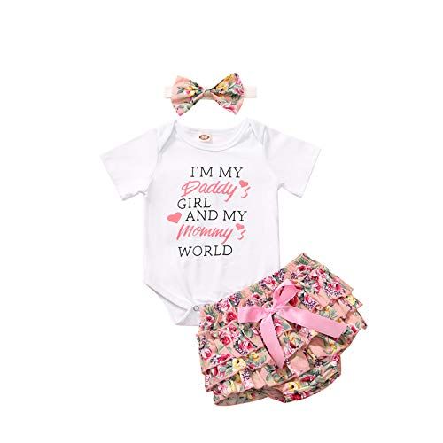 Baby Girl Clothes Newborn Summer Outfits Infant 3Pcs Floral Pants + Short Ruffle Romper Playsuit + Headband Daddys Girl Mommys World 0-3 Months 70cm