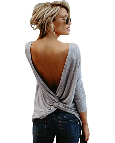 Mujeres Backless Sleeveless Tank Top con Espalda Abierta Nudo Casual Shirt tee (Manche Longue Gris, M :38/40)