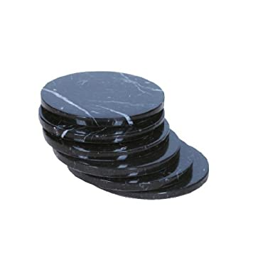 Set of 4 - Black Marble Stone Coasters – Polished Coasters – 3.5 Inches ( 9 cm) in Diameter – Protection from Drink Rings -CraftsOfEgypt