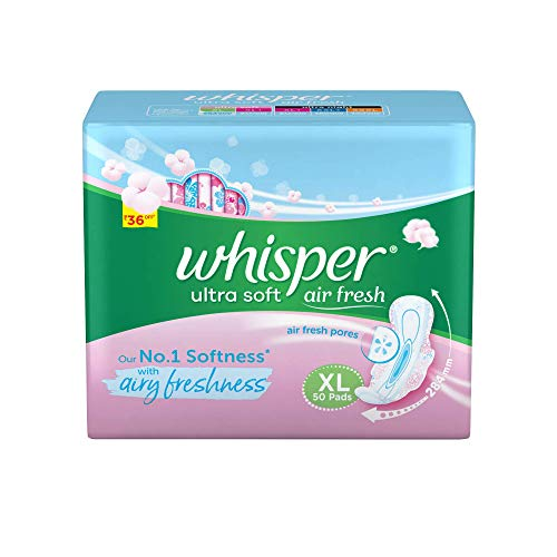 Whisper Ultra Soft Sanitary Pads for Women, XL, 50 Napkins