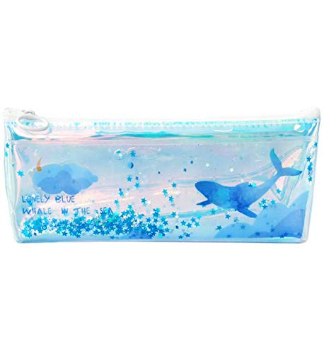 Funny live Blue Ocean Blue Whale with Sequins Drift Pencil Bags Transparent Pencil Case Stationery Pouch Bag TPU Makeup Storage Bags (Style B)