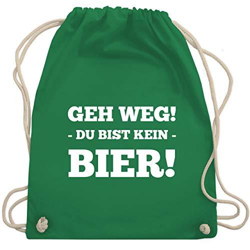 Shirtracer Festival Turnbeutel - Geh Weg! Du bist kein Bier! - Unisize - Grün - Statement - WM110 - Turnbeutel und Stoffbeutel aus Baumwolle