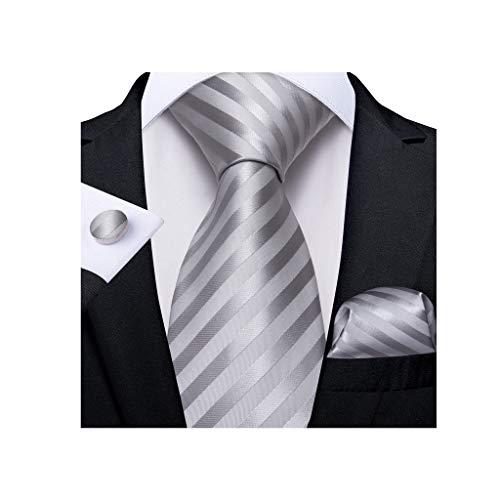 XJJZS Corbata de Seda de Seda de Plata para Hombre para Hombres Hanky GAPLINKS Tie SITION Conjunto DE Moda Designer