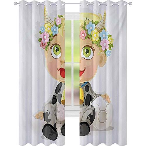 Cortinas opacas Happy Baby con pequeos cuernos y flores, campana de vaca y disfraz de dibujos animados para nios, panel de cortina de ventana de 52 x 63 para guardera, multicolor