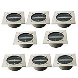 TOSHIN 8 Piezas 3 LED Luces Solares para Jardín, IP65 Impermeable Lámpara Solar de Exterior, Terraza, Patio y Césped (Cuadrado, Blanco Frío)