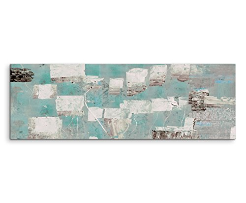 120x40cm Panoramabild abstrakt Leinwanddruck Kunstdruck Wandbild türkis blau beige grau